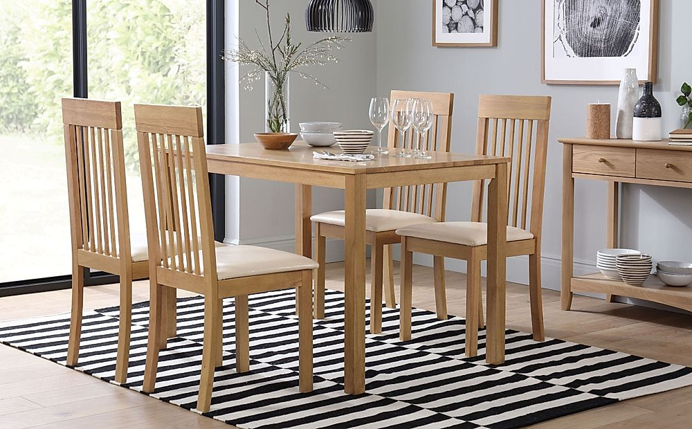 Milton Oak Dining Table with 4 Oxford Ivory Chairs