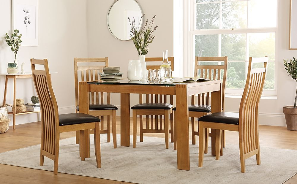 Tate 120cm Oak and Glass Dining Table with 4 Bali Chairs (Brown Seat Pad)