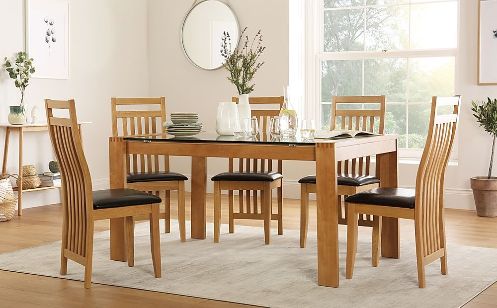 Tate 150cm Oak and Glass Dining Table with 4 Bali Chairs (Brown Leather Seat Pads)