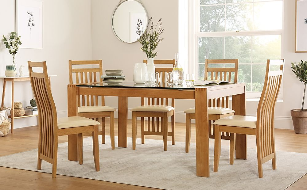 Tate 150cm Oak and Glass Dining Table with 4 Bali Chairs (Ivory Seat Pad)