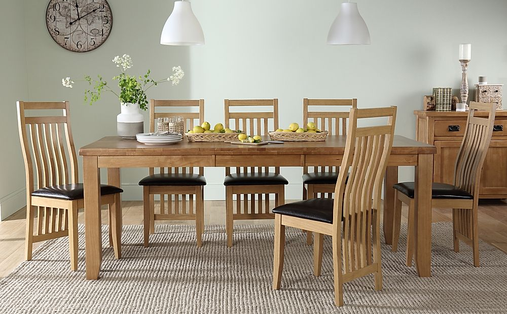 Highbury Oak Extending Dining Table with 6 Bali Chairs (Brown Leather Seat Pads)