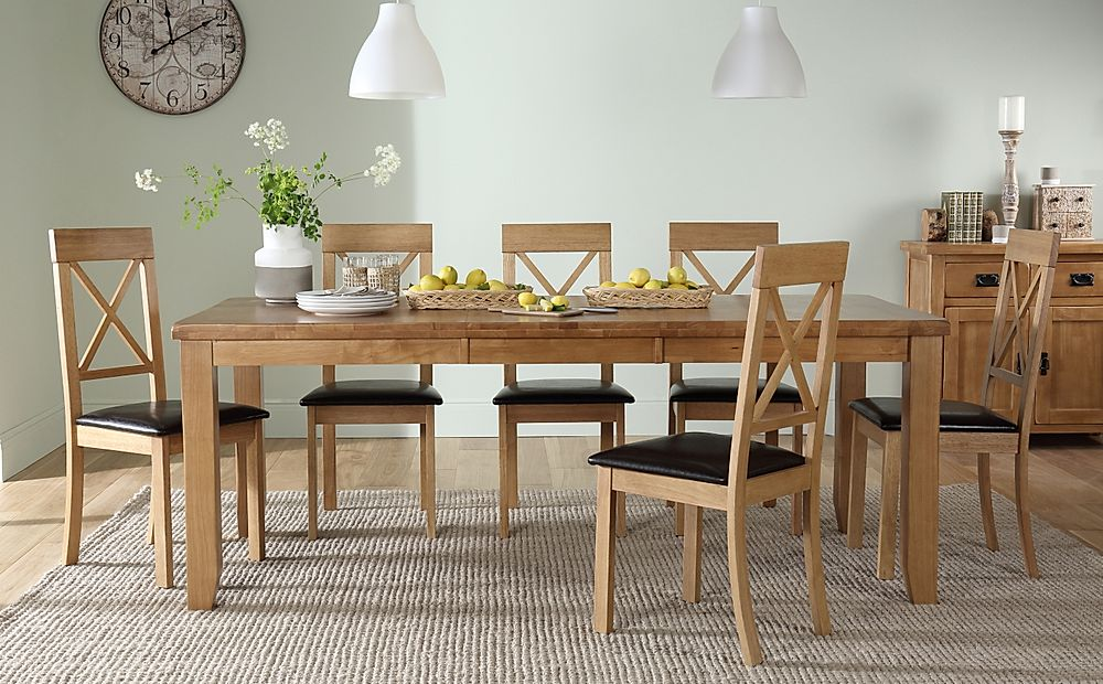 Highbury Oak Extending Dining Table with 6 Kendal Chairs (Brown Leather Seat Pads)