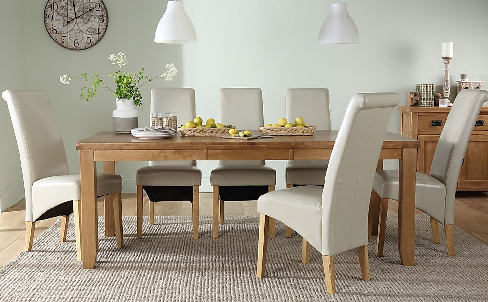 Highbury Oak Extending Dining Table with 6 Boston Ivory Chairs