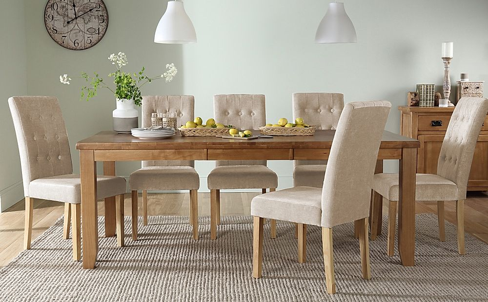 Highbury Oak Extending Dining Table with 8 Regent Oatmeal Fabric Chairs