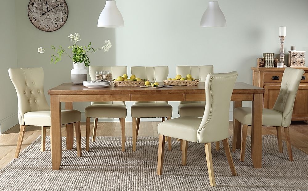 Highbury Oak Extending Dining Table with 4 Bewley Ivory Chairs