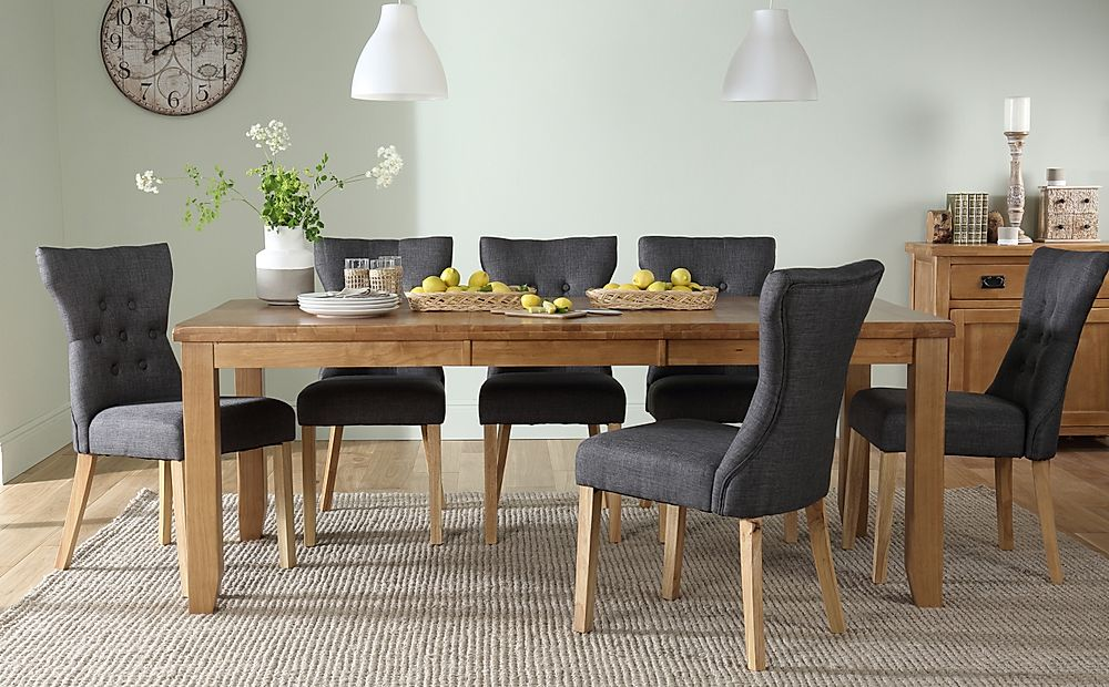 Highbury Oak Extending Dining Table with 8 Bewley Slate Fabric Chairs