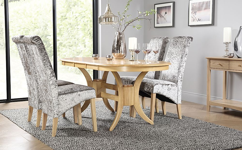 Townhouse Oval Oak Extending Dining Table with 4 Boston Silver Velvet Chairs