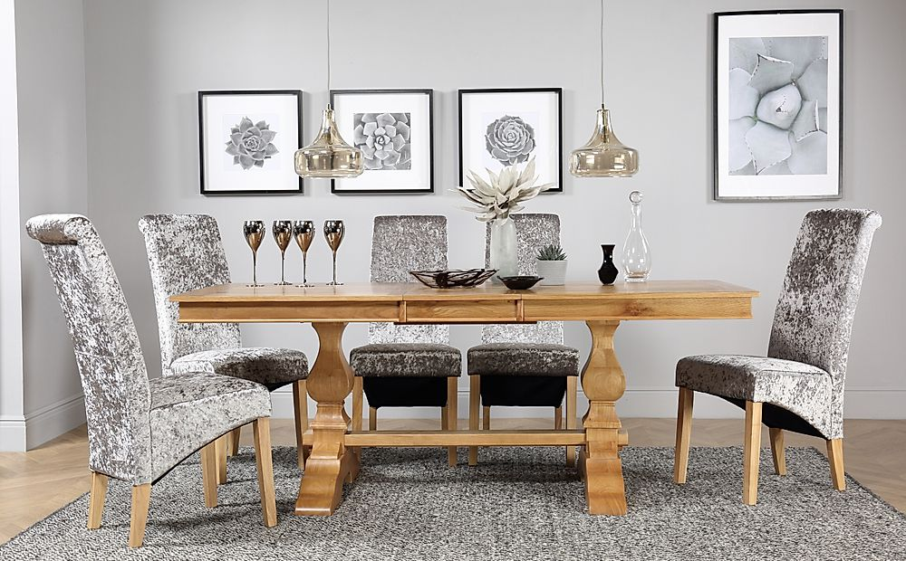 Cavendish Oak Extending Dining Table with 6 Boston Silver Velvet Chairs