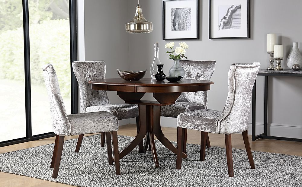 Hudson Round Dark Wood Extending Dining Table with 4 Bewley Silver Velvet Chairs