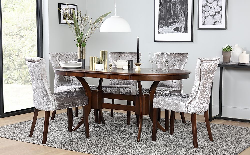 Townhouse Oval Dark Wood Extending Dining Table with 6 Bewley Silver Velvet Chairs
