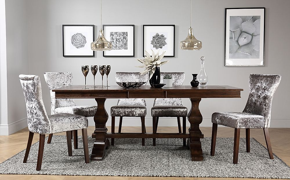Cavendish Dark Wood Extending Dining Table with 4 Bewley Silver Velvet Chairs
