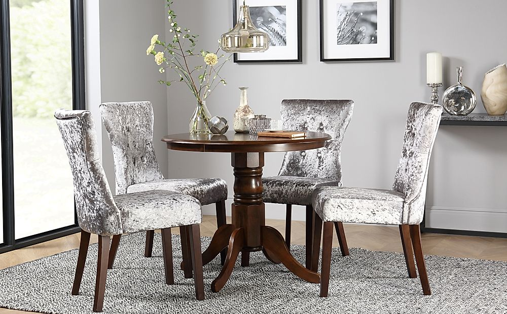 Kingston Round Dark Wood Dining Table with 4 Bewley Silver Velvet Chairs