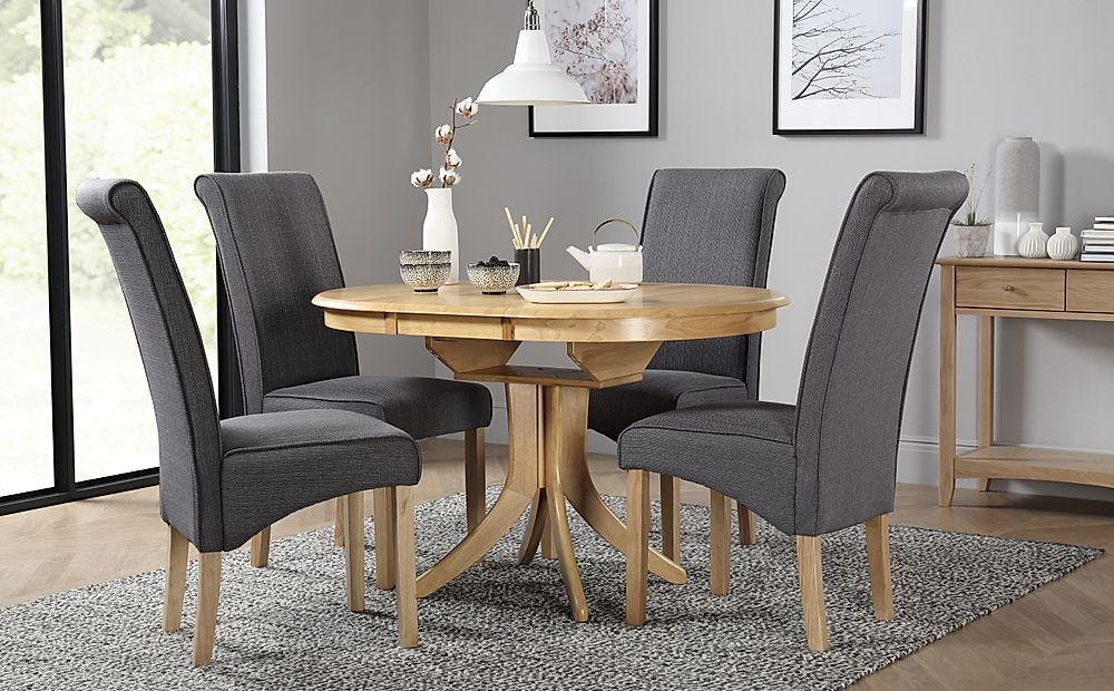 Hudson Round Oak Extending Dining Table with 6 Stamford Slate Chairs