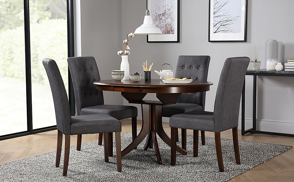 Hudson Round Dark Wood Extending Dining Table with 4 Regent Slate Fabric Chairs