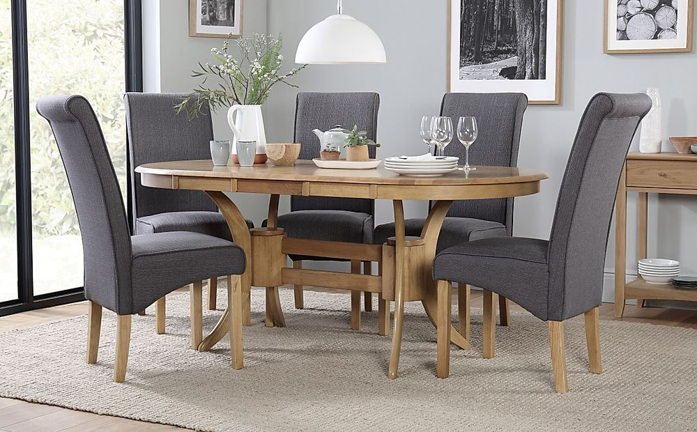 Townhouse Oval Oak Extending Dining Table with 6 Stamford Slate Chairs