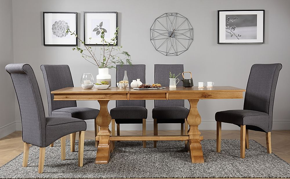 Cavendish Oak Extending Dining Table with 4 Stamford Slate Fabric Chairs
