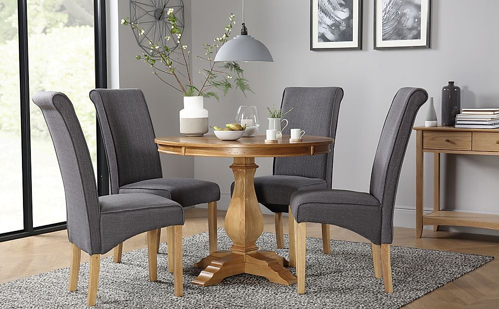 Cavendish Round Oak Dining Table with 4 Stamford Slate Chairs