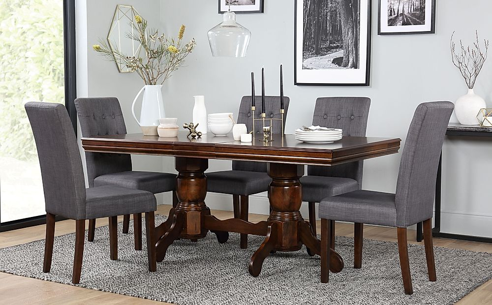 Chatsworth Dark Wood Extending Dining Table with 6 Regent Slate Chairs