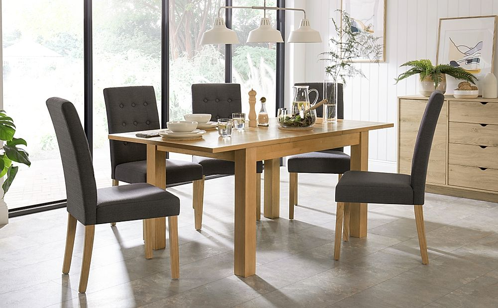 Hamilton 120-170cm Oak Extending Dining Table with 4 Regent Slate Chairs