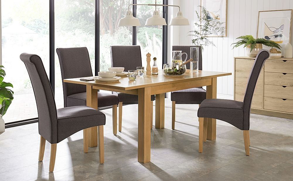 Hamilton 120-170cm Oak Extending Dining Table with 4 Stamford Slate Fabric Chairs