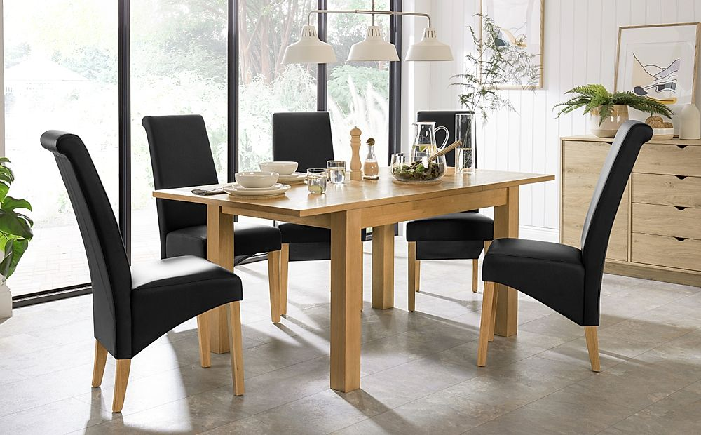 Hamilton 120-170cm Oak Extending Dining Table with 4 Richmond Black Leather Chairs