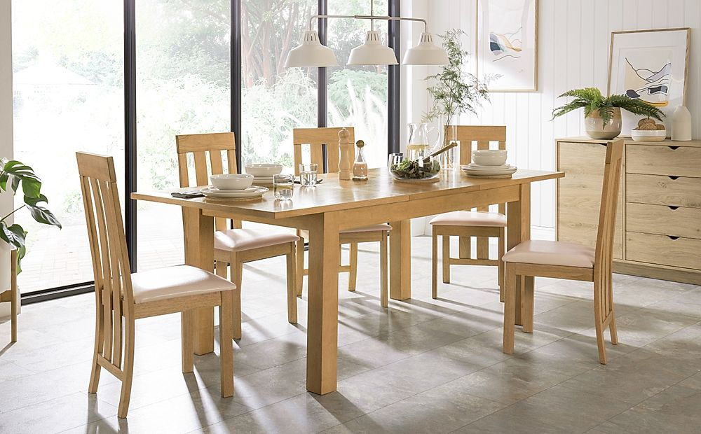 Hamilton 150-200cm Oak Extending Dining Table with 4 Chester Chairs (Ivory Leather Seat Pad)