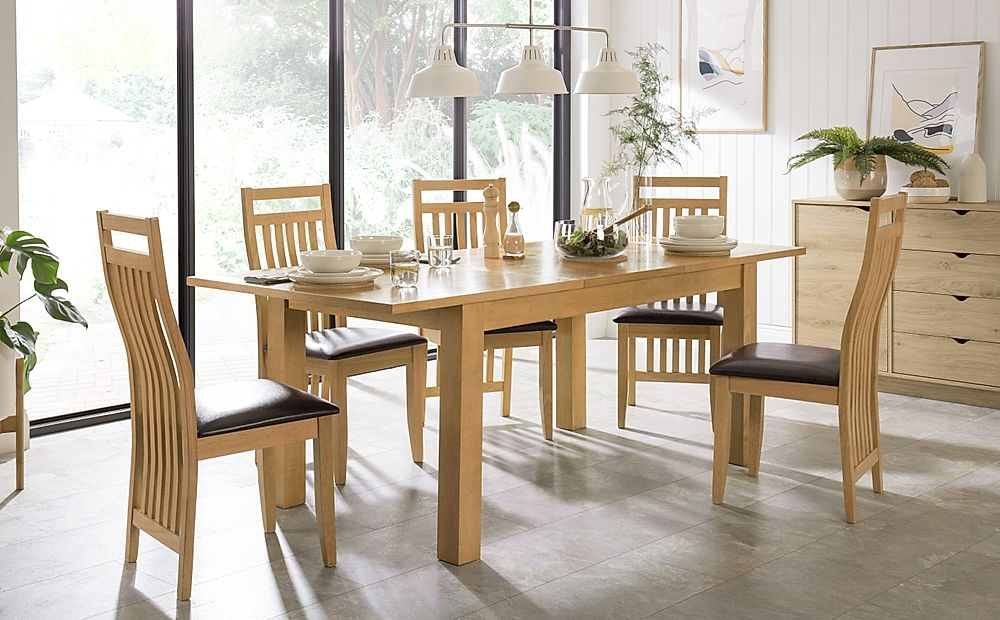Hamilton 150-200cm Oak Extending Dining Table with 4 Bali Chairs (Brown Leather Seat Pads)