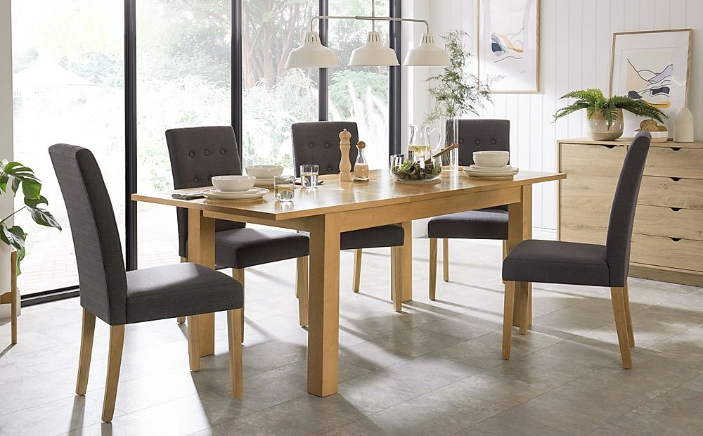 Hamilton Oak 150-200cm Extending Dining Table with 4 Regent Slate Fabric Chairs