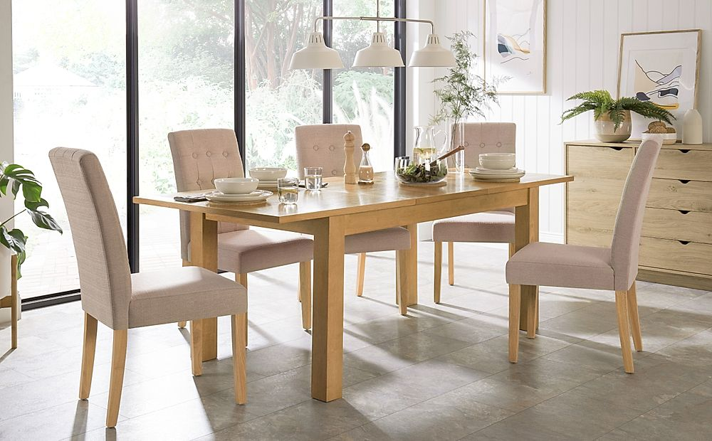 Hamilton 150-200cm Oak Extending Dining Table with 6 Regent Oatmeal Fabric Chairs