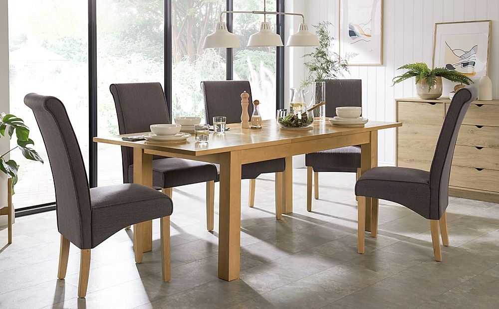 Hamilton Oak 150-200cm Extending Dining Table with 6 Stamford Slate Fabric Chairs