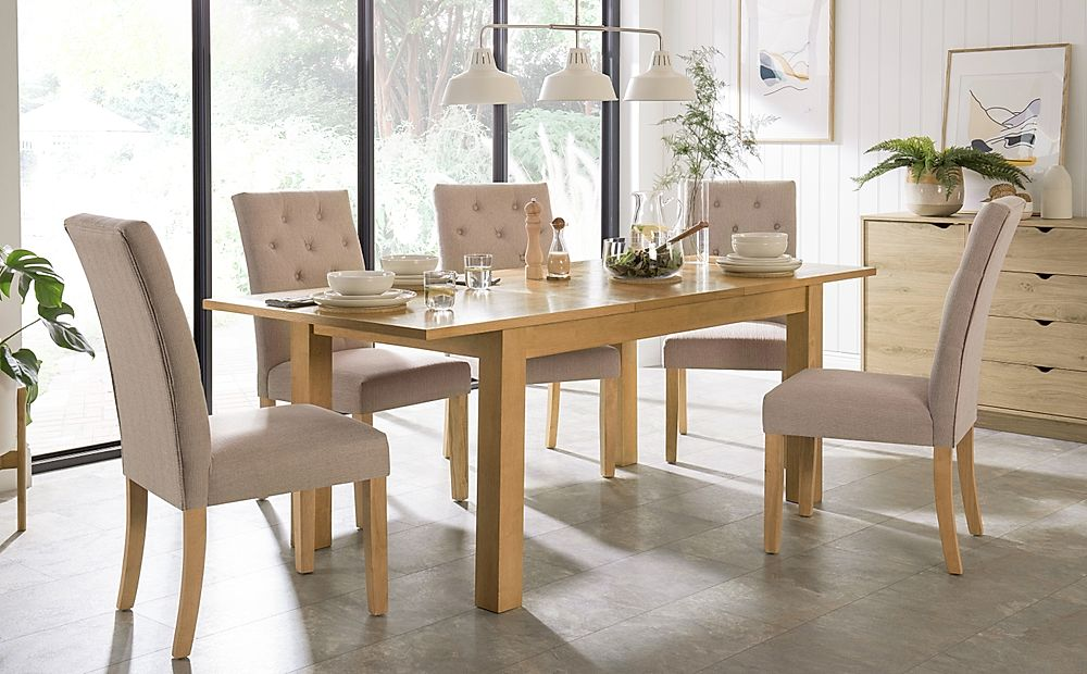 Hamilton 150-200cm Oak Extending Dining Table with 6 Hatfield Oatmeal Chairs