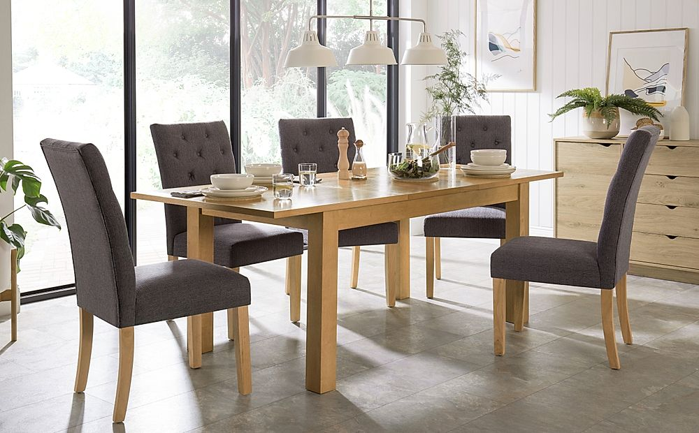 Hamilton 150-200cm Oak Extending Dining Table with 4 Hatfield Slate Fabric Chairs