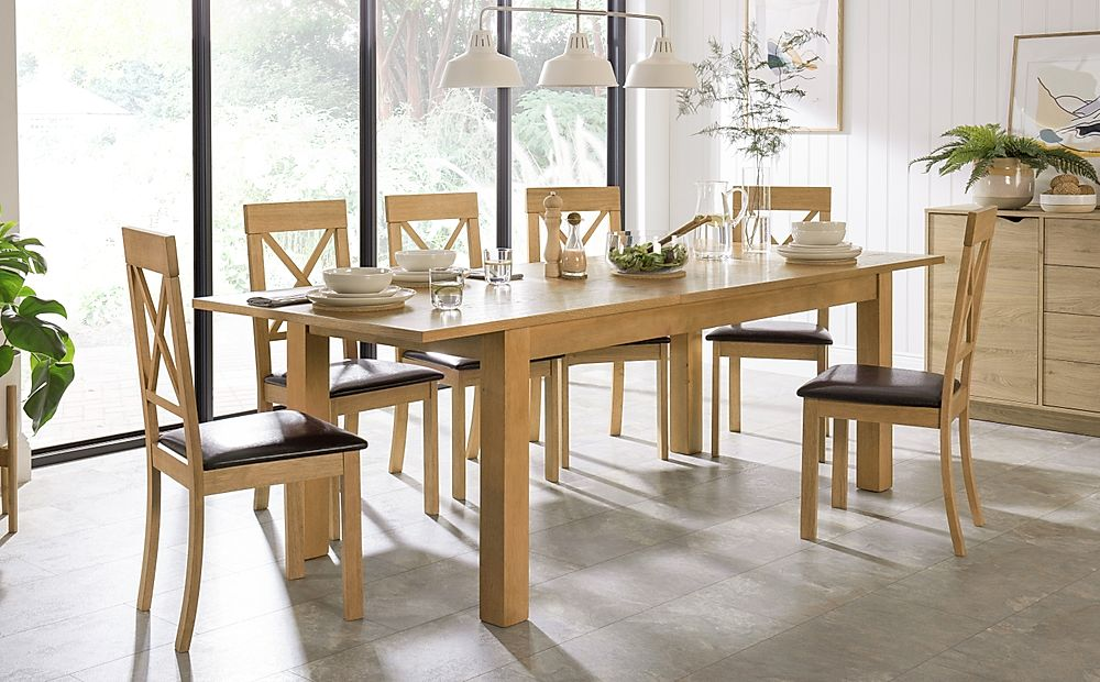Hamilton 180-230cm Oak Extending Dining Table with 6 Kendal Chairs (Brown Leather Seat Pad)