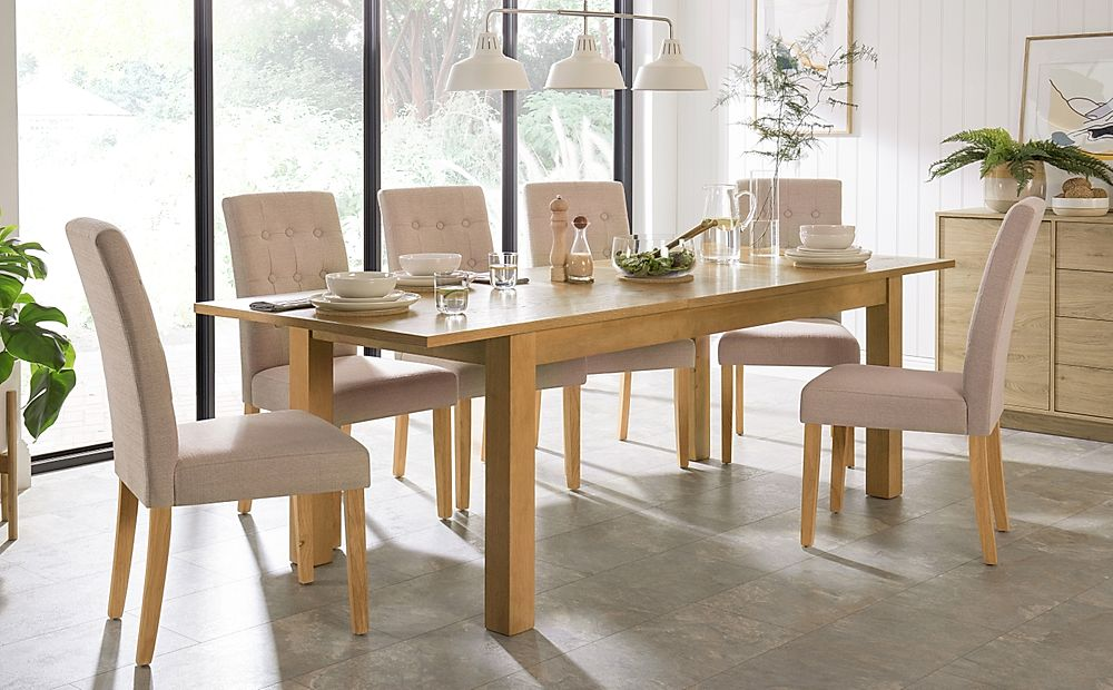 Hamilton 180-230cm Oak Extending Dining Table with 6 Regent Oatmeal Chairs