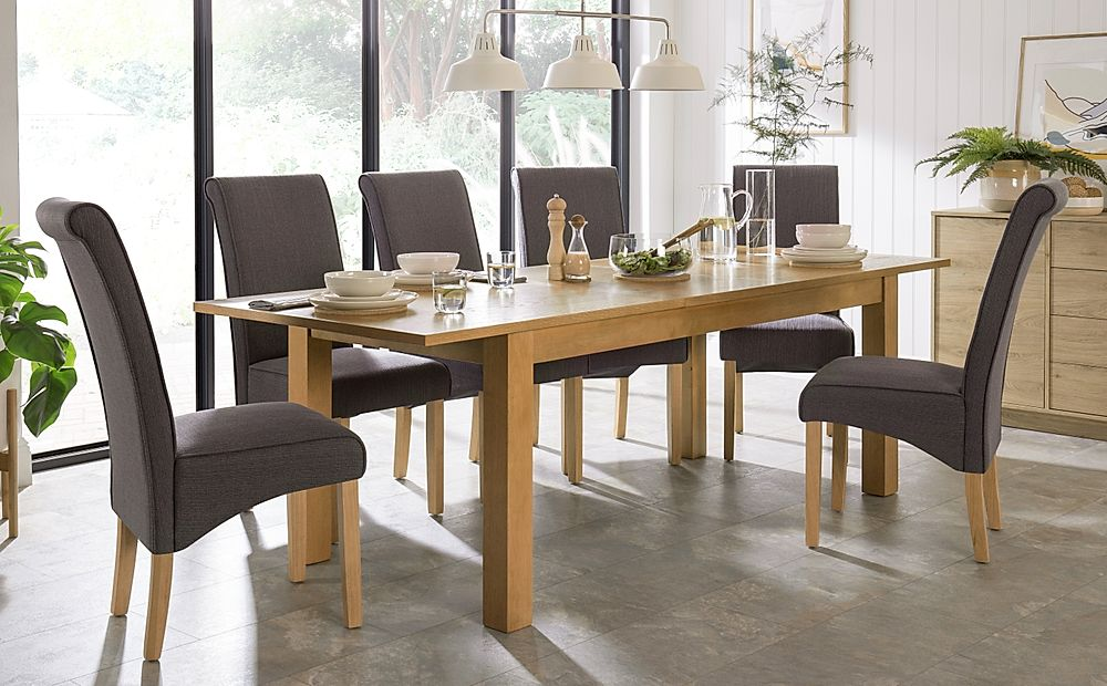 Hamilton 180-230cm Oak Extending Dining Table with 6 Stamford Slate Fabric Chairs