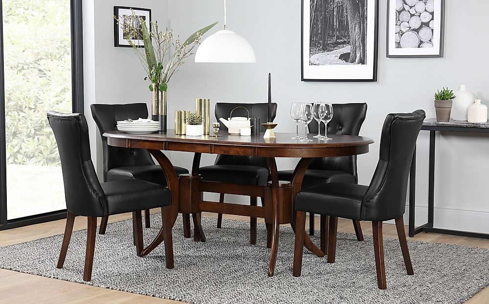 Townhouse Oval Dark Wood Extending Dining Table with 6 Bewley Black Leather Chairs
