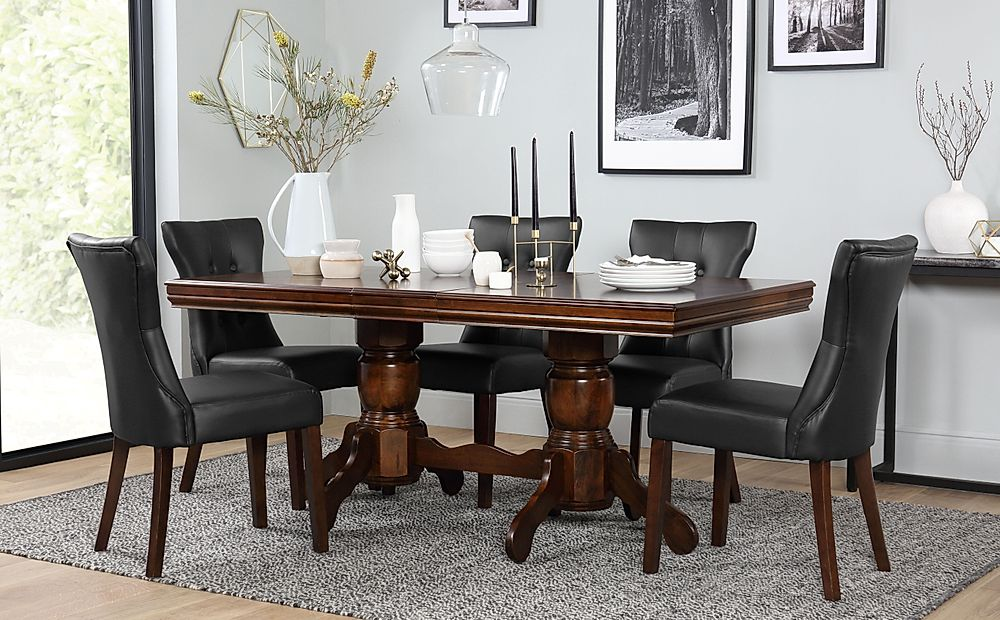 Chatsworth Dark Wood Extending Dining Table with 4 Bewley Black Leather Chairs