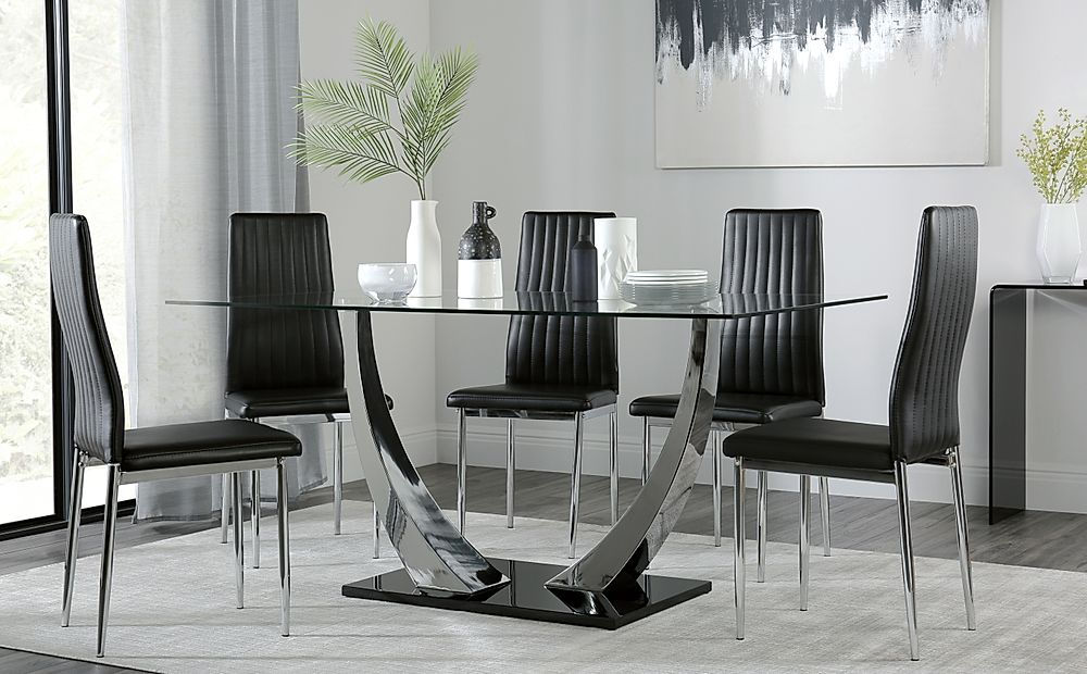 Peake Glass and Chrome Dining Table (Black Gloss Base) with 6 Leon Black Chairs