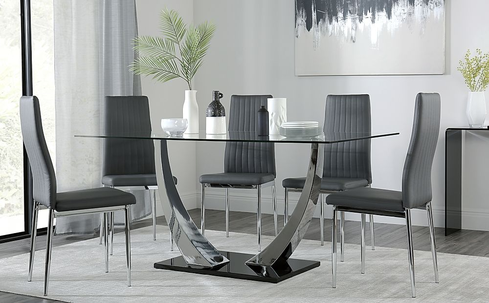 Peake Glass and Chrome Dining Table (Black Gloss Base) with 6 Leon Grey Chairs