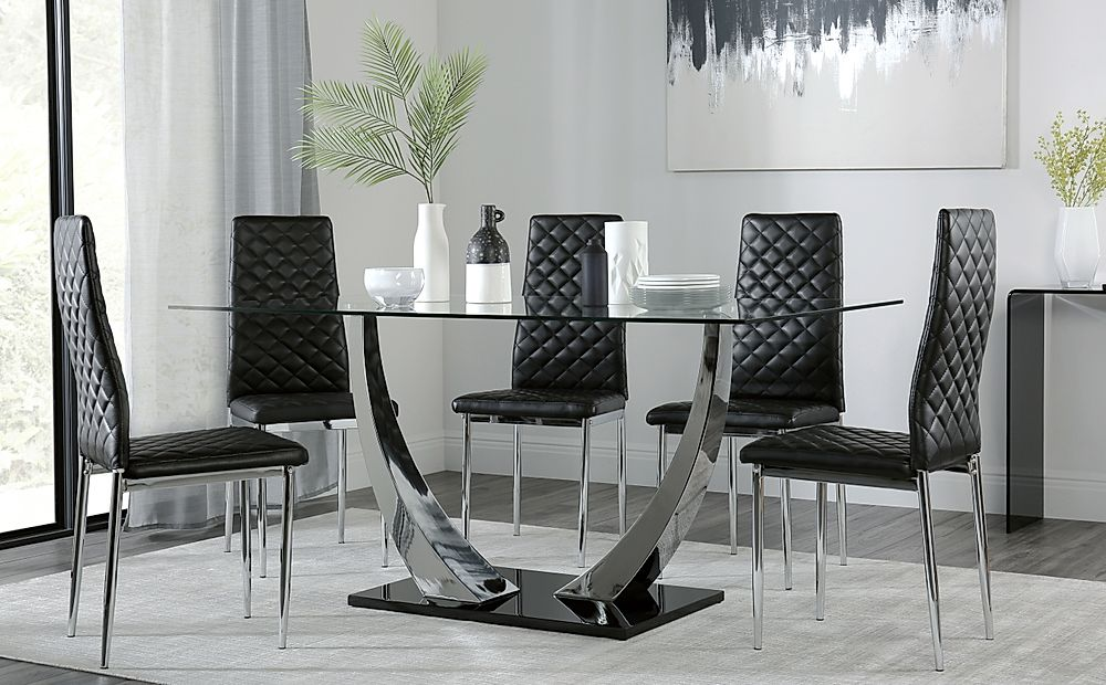 Peake Glass and Chrome Dining Table (Black Gloss Base) with 4 Renzo Black Chairs