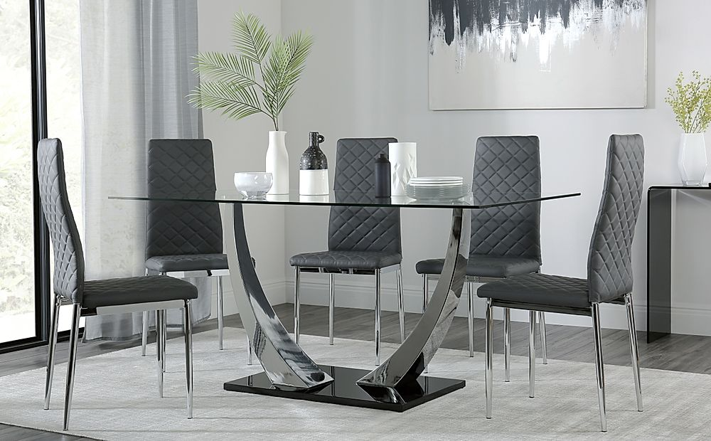 Peake Glass and Chrome Dining Table (Black Gloss Base) with 6 Renzo Grey Chairs