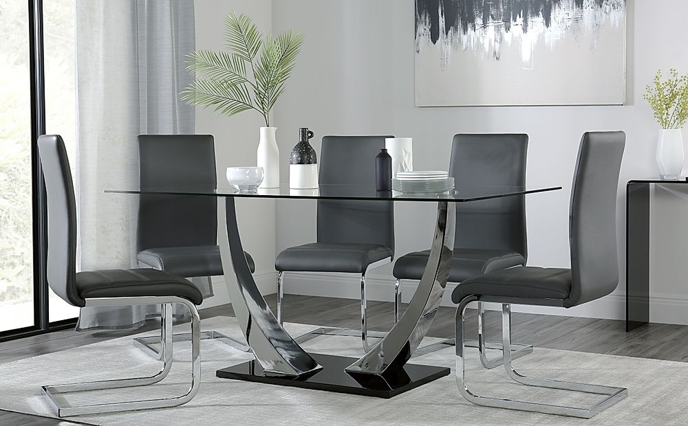 Peake Glass and Chrome Dining Table (Black Gloss Base) with 6 Perth Grey Leather Chairs
