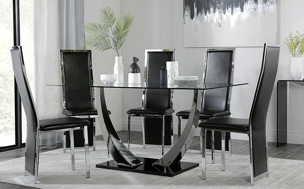 Peake Glass and Chrome Dining Table (Black Gloss Base) with 6 Celeste Black Chairs