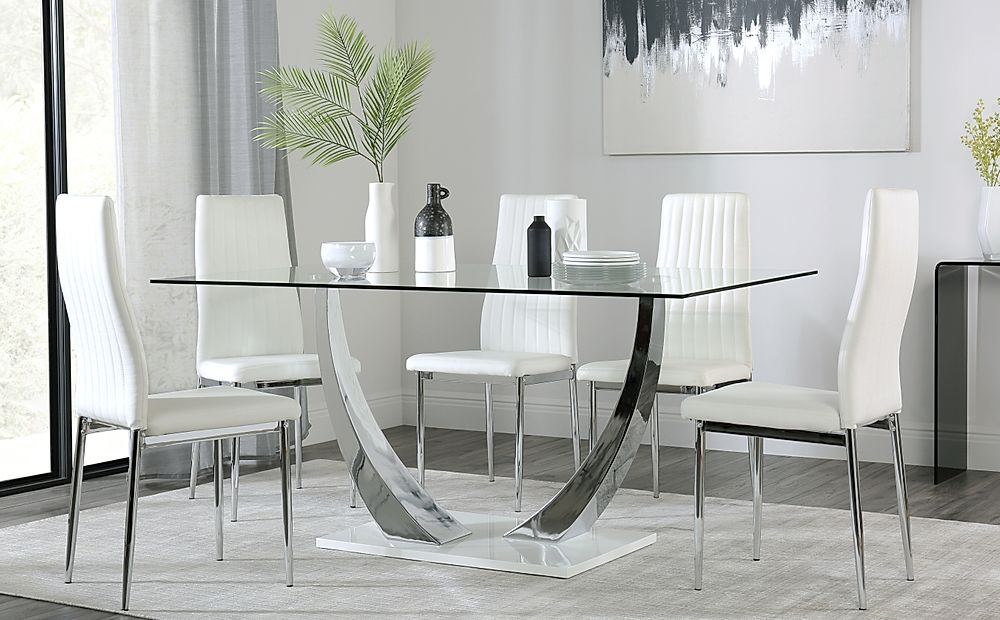 Peake Glass and Chrome Dining Table (White Gloss Base) with 4 Leon White Chairs