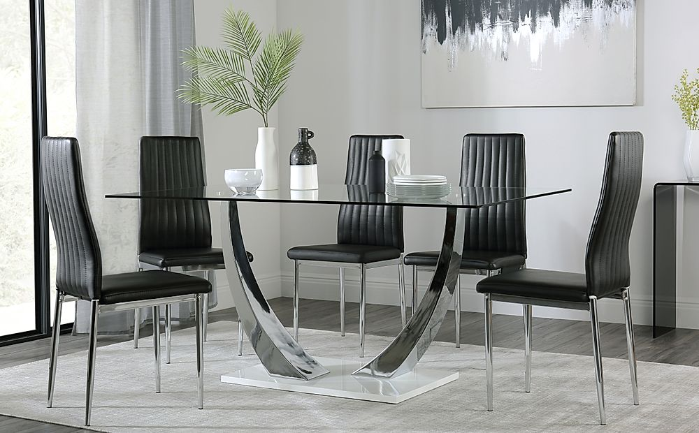 Peake Glass and Chrome Dining Table (White Gloss Base) with 6 Leon Black Chairs