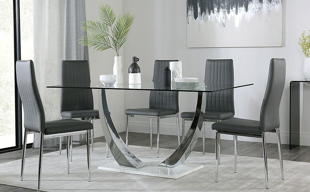 Peake Glass and Chrome Dining Table (White Gloss Base) with 4 Leon Grey Leather Chairs