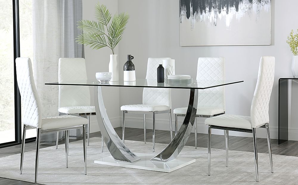 Peake Glass and Chrome Dining Table (White Gloss Base) with 6 Renzo White Leather Chairs