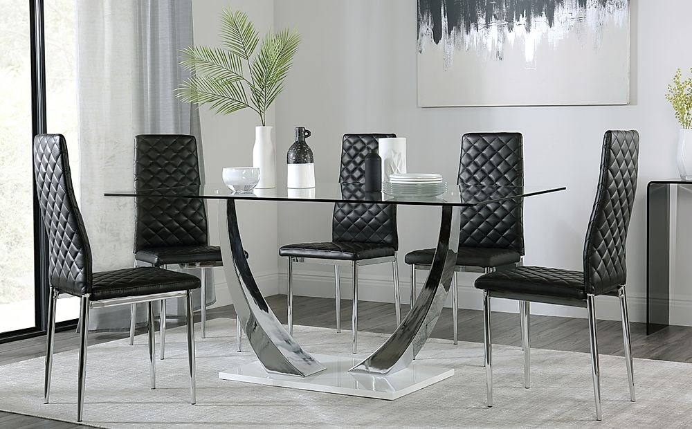Peake Glass and Chrome Dining Table (White Gloss Base) with 6 Renzo Black Leather Chairs