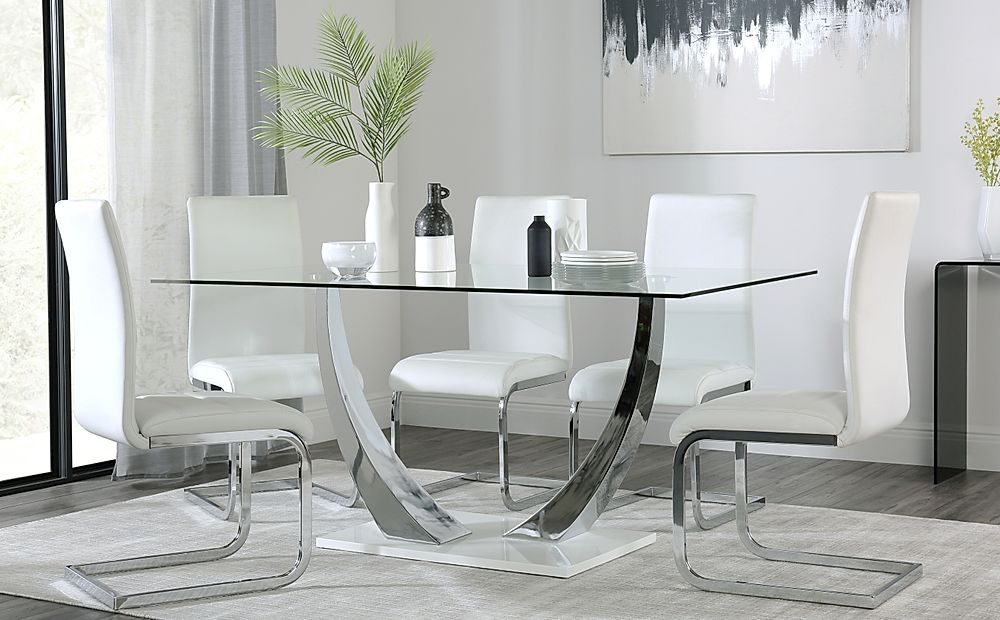 Peake Glass and Chrome Dining Table (White Gloss Base) with 4 Perth White Chairs