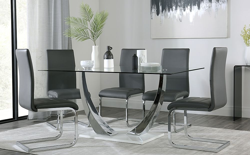 Peake Glass and Chrome Dining Table (White Gloss Base) with 6 Perth Grey Chairs